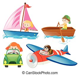 Kids in different types of transportations