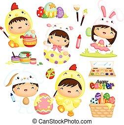 Kids in Easter Costume Vector Set