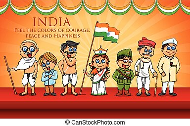 Kids in fancy dress of Indian freedom fighter - illustration...