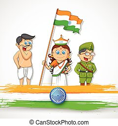 Kids in fancy dress of Indian freedom fighter