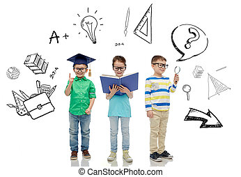 kids in glasses with book, lens and bachelor hat - childhood...