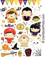 kids in halloween costume EPS8.eps