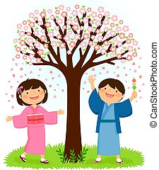 Kids in kimonos standing under a sakura tree
