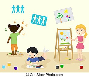 Kids in kindergarden draw and paint in art class vector illustration. Pre-school children painting and drawing pictures, cartoon kids characters poster.