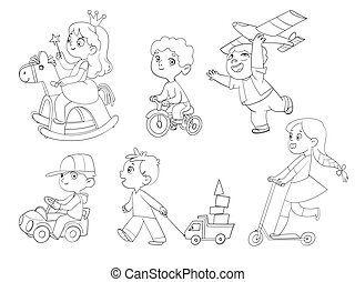 Kids in kindergarten play with their favorite toys. Coloring book