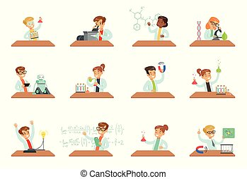 Kids in lab clothing doing scientific experiments with lab equipment in school science class laboratories, educational science activities for children vector Illustrations on a white background