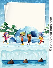 Kids in North Pole and Igloo illustration