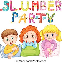 Kids in pajamas at slumber party illustration
