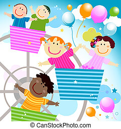 vector kids in the amusement park