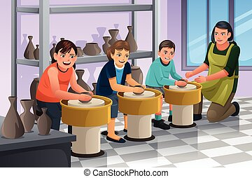 Kids in Pottery Class