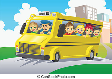 Kids in school bus - A vector illustration of kids riding in...