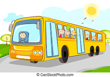 illustration of kids in school bus with driver