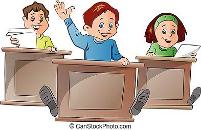 Kids in School, illustration - Kids in School, vector ...