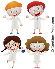 Kids in science gown and goggles
