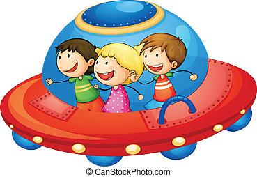 kids in spaceship - illustration of a kids in spaceship on...