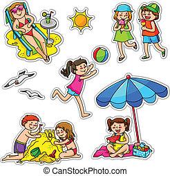 kids in summer - set of kids enjoying summer