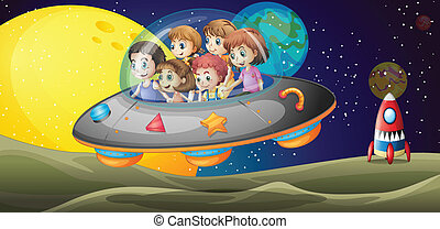 Kids in the outerspace - Illustration of the kids in the...