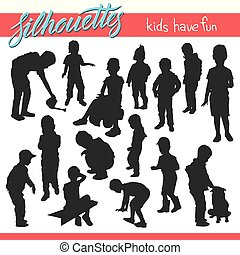 Kids in the park vector silhouettes