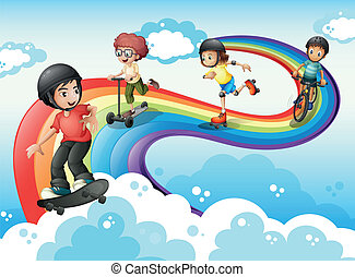 Kids in the sky playing with the rainbow - Illustration of...
