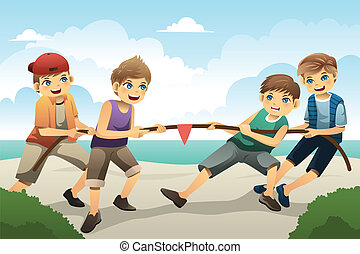 Kids in tug of war - A vector illustration of cute boys ...