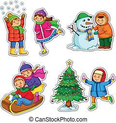 kids in winter - set of happy kids enjoying winter
