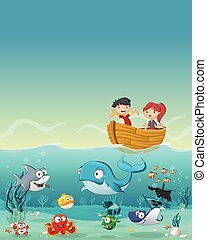 Kids inside a boat at the ocean with fish under water.