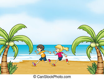 Kids jogging along the seashore