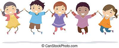 Kids Jump Shot - Illustration of Kids Holding Hands While...