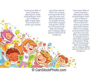 Kids jumping have fun in children's party. Children's background for your design