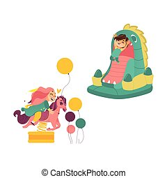 Kids jumping in bouncer and riding spring horse