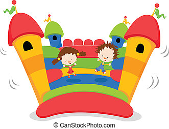 Kids Jumping On A Bouncy Castle