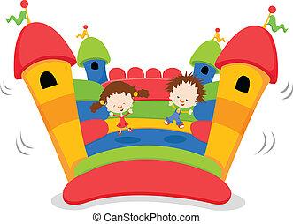 Bouncy Castle - Kids Jumping On A Bouncy Castle