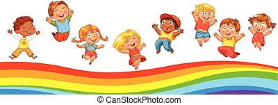 Kids jumping on a rainbow, like on a trampoline