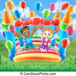 Kids Jumping on Bouncy Castle - Two kids having fun jumping...
