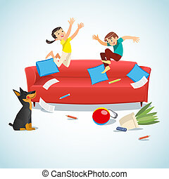 Kids jumping on the couch playing with a ball