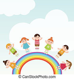 Kids jumping on the rainbow.