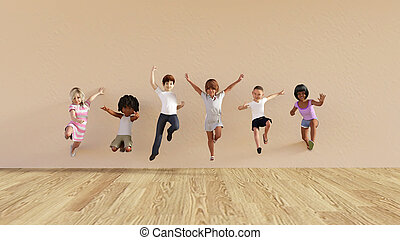 Kids Jumping Playing