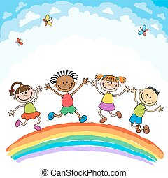 Kids jumping with joy on a hill under rainbow, colorful cartoon