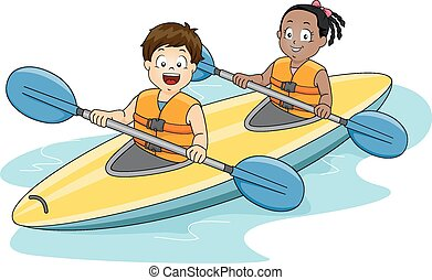 Kids Kayaking - Illustration of a Boy and a Girl Maneuvering...