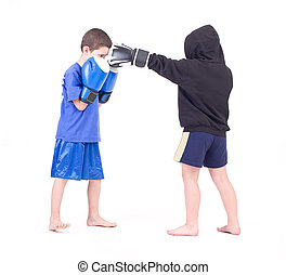 Kids Kickboxing Fight. Isolated on a white background....