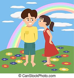 kids kissing with rainbow background vector cartoon