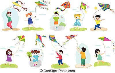 Kids kite vector child character boy and girl playing childly kiteflying activity illustration set of children with kites game isolated on white background