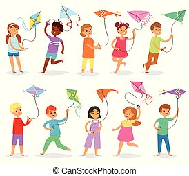 Kids kite vector child character boy or girl playing and childly kiteflying activity illustration set of children with kites game isolated on white background