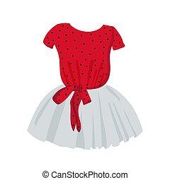 kids., kleren, illustratie, modieus, pluizig, jurkje, girls...
