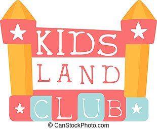 Kids Land Playground And Entertainment Club Colorful Promo Sign With Bouncing Castle For The Playing Space For Children