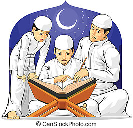 A vector set of children learn to read al-quran with their father. Drawn in cartoon style, this vector is very good for design that needs religious element in funny, colorful and cheerful style. Available as a Vector in EPS8 format that can be scaled to any size without loss of quality. Elements ...