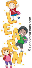 Illustration of Kids Posing with the Word Learn