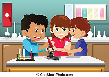 A vector illustration of kids making science experiment in a lab