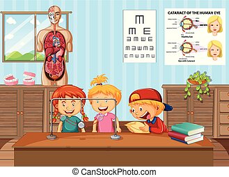 Kids learning science in lab