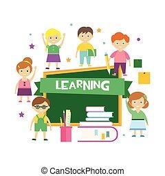 Kids Learning. Vector Illustration